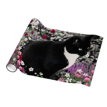 Freckles in Flowers II, Black White Tuxedo Cat Wrapping Paper