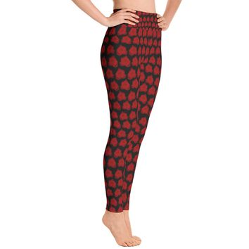 Red rose Flower print Leggings