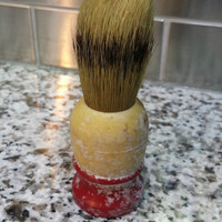 Vintage Antique RARE Red Cream Handle Shaving Brush Collectible Classic Old Used
