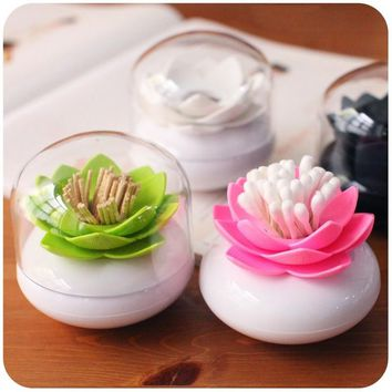 1 pc Swab Cotton Toothpick Box with Lid Colorful Durable Holder Case Bud Box Lotus Vase Decorating Toothpick Cover Case