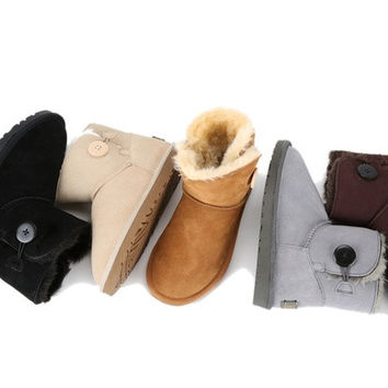 Female Low Upper Snow boots Thicken Fur Sheepskin Ugly boots Ribbit Hair Winter Warm Fleece Padded shoes Flying Ugly boots footwear leather casual [8833489676]