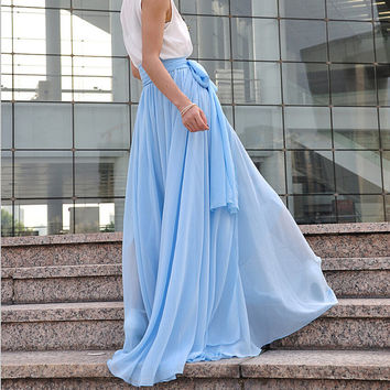 High Waist Maxi Skirt Chiffon Silk Skirts Beautiful Bow Tie Elastic Waist Summer Skirt Floor Length Long Skirt (037), #21