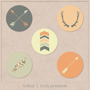 "tribal clipart 1 inch bottle cap images 1"" circle clipart digital collage sheet bottlecap image handdrawn arrows, feathers, antlers, chevron"