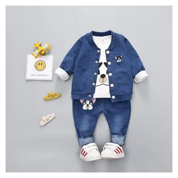 2018 New Spring 3 Piece Children's Clothing Boys and Girls Soft Denim Printing Embroidery Puppies Dog Sportwear Freeshipping