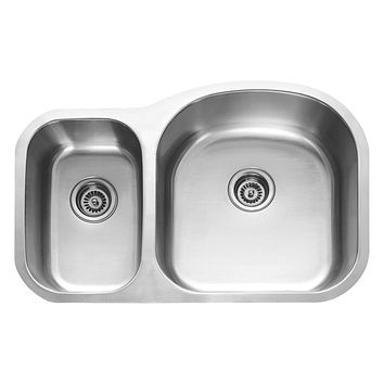 DAX-3121R / DAX 30/70 DOUBLE BOWL UNDERMOUNT KITCHEN SINK, 18 GAUGE STAINLESS STEEL, BRUSHED FINISH