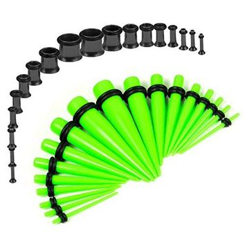 BodyJ4You Gauges Kit Neon Green Tapers Black Plugs Steel 14G-00G Stretching Set 36 Pieces