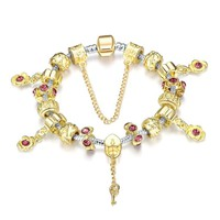 Golden Ruby Pandora Inspired Bracelet