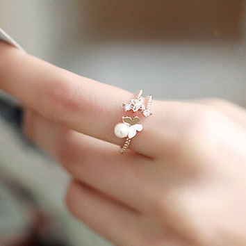 Jewelry Shiny Gift New Arrival Korean Stylish Butterfly Pearls Lovely Decoration Ring [6586152199]