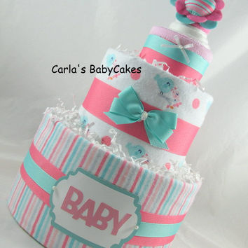 Girl diaper cake | Pink diaper cake | Baby shower decoration | Baby shower gift | Baby sprinkle gift | New mom gift | Baby diaper cake