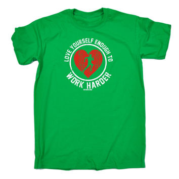 Personal Best Men's Love Yourself Enough To Work Harder Heart Design Running T-Shirt