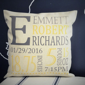Initials of baby Personalized birth pillow cover