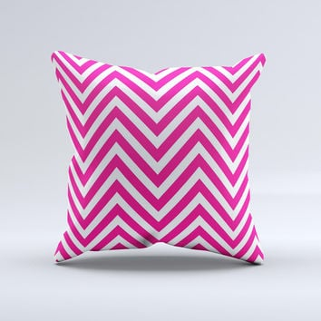 Pink & White Sharp Chevron Pattern  Ink-Fuzed Decorative Throw Pillow