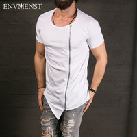New Men's Fashion Show Stylish Long T shirt Asymmetrical Side Zipper
