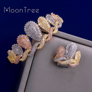 MoonTree Luxury Crown Luxury Shining CZ Zircons Bangle Ring Set Three Tones Color Women Wedding Bridal Dubai Jewelry Set