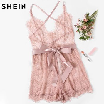 SHEIN Sexy Lingerie Onesuits Sexy Pajama Bottoms Pink Spaghetti Strap Ribbon Tie Waist Plunging Lace Sleep Romper