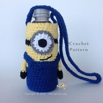 Minion Water Bottle Holder, Cup Holder  - Instant Download CROCHET PATTERN