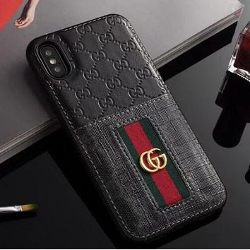 GUCCI Trending Stylish Red Green Stripe Simple Mobile Phone Case iphone 6 6plus iphone 7 7plus iphone 8 8plus iphone X Protective Case Black I12483-1