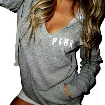 Pullover Hoodies Women Printed Pink Casual Kpop Hoodie Loose Fashion Brand Clothing Harajuku Sweatshirt Women Moleton Tops Z35