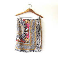 90s Silk Floral Skirt. Printed Silk Wrap Mini Skirt.