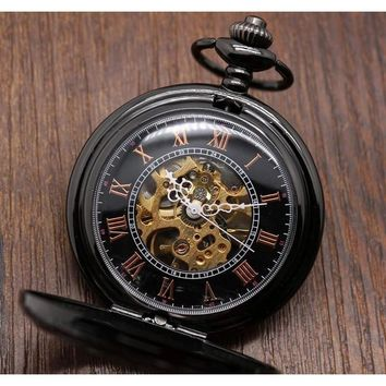Men's Mechanical Hand Wind Steampunk Collection Pocket Watches - 2 Colors