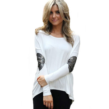 White Glitter Elbow Patchwork Long Back Top