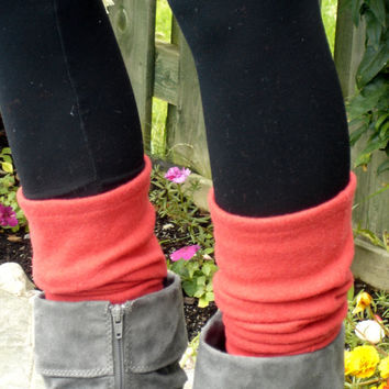 Soft red leg warmers, upcycled from a recycled 100% Wool Sweater