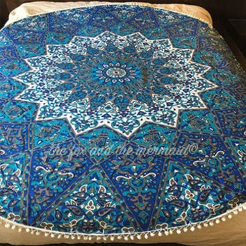 mandala tapestry, indian roundie, round blanket, round beach blanket, hippie boho sheet, picnic blanket, boho decor, beach throw