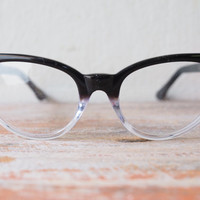 Vintage Style Eyeglasses cat eye By Lemon Eyeglass CO. Ebony and Clear Two Tone color Frames Good size