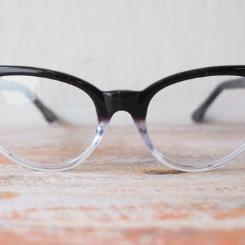 35df7a2df5 Vintage Style Eyeglasses cat eye By Lemon Eyeglass CO. Ebony and Clear Two  Tone color