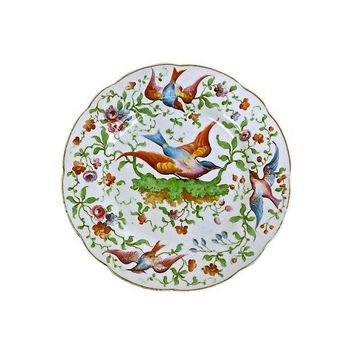 Pre-owned Antique Hand-Painted Porcelain Bird Plate