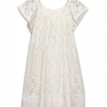 Vintage Style Pure Color Hook Flower Short Sleeve Lace Dress