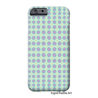 Purple Polka Dots, Mint, iPhone 6 Case, iPhone 6 Plus Case, iPhone 5 Case, Circle, Funky, Art on iPhone cases, by Ingrid, iPhone 5S case