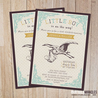 Boy baby shower invitation, Printable vintage stork baby shower invites, Customized vintage baby shower invitations / Digital file