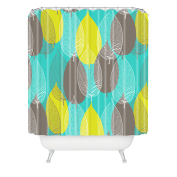 Aimee St Hill Big Leaves Blue Shower Curtain