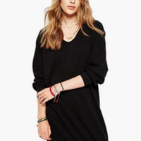 Black V-Neck Long Sleeve Knitted Mini Dress