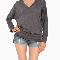Soft V-Neck Long Sleeve in Gray
