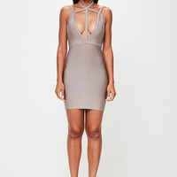 Missguided - Peace + Love Nude Plait Strap Bandage Bodycon Dress