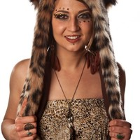 Faux Fur Leopard Hooded Hat with Hand Pockets - Whimsical & Unique Gift Ideas for the Coolest Gift Givers