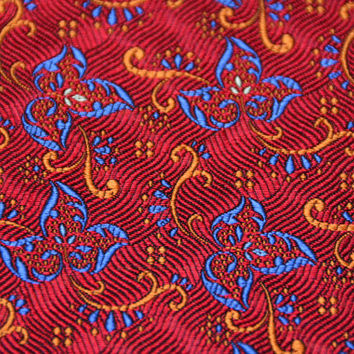 Vintage Silk Jacquard Necktie Fabric Yardage - Italian Silk Red Blue Gold