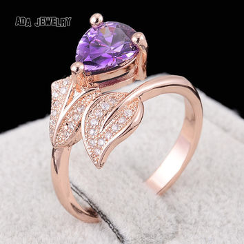 Pink 7 Unique Leaf Shape Crystal Amethyst Ring with Micro Cubic Zirconia Stone 18K Rose Gold Plated Fashion Rings for Women Female Anel