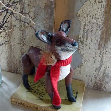 Finn the mischievous fox:vintage look, soft sculpture animal. Perfect heirloom gift, for baby room or child's room, or the child in you!