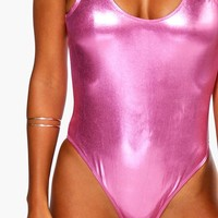 Palma Pink Metalic Scoop Back Swimsuit