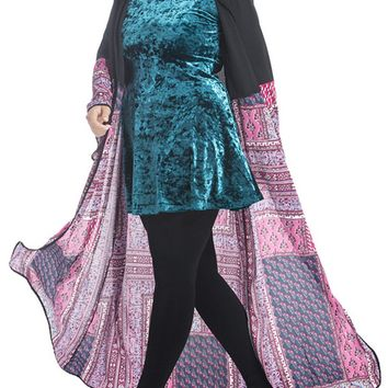 Streetstyle  Casual Tribal Printed Loose Plus Size Duster Coat