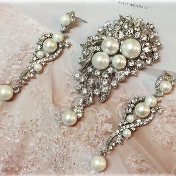Bridal jewelry, Wedding Necklace OR brooch set, crystal brooch, rhinestone brooch, pearl and crustal earrings & brooch, bridesmaid gift