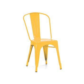 Sundsvall Stackable Glossy Yellow Steel Side Chair (Set of 4)
