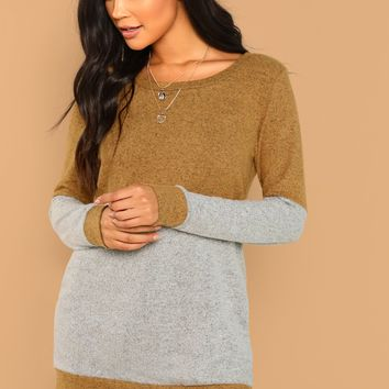 Multicolor Round Neck Brush Knit Colorblock Two Tone Sweat Shirt