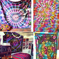 Multicolor Tie Dye Colors win Mandala Tapestries Psychedelic Tie Dye Tapestry