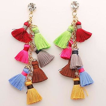 Multicolors Bohemia Style Multi-Story Long drop Tassel Earrings