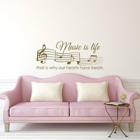 Music Wall Decor - Music Is Life That's Why Our Hearts Have Beats Wall Decal Quote - Inspirational Quotes Music Notes Wall Decorations K176