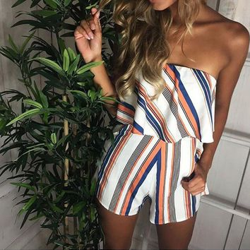 Off Shoulder Stripe Elegant Jumpsuit Romper White Strap Backless Bow Overalls Sexy Summer Beach Playsuit Women Outfit